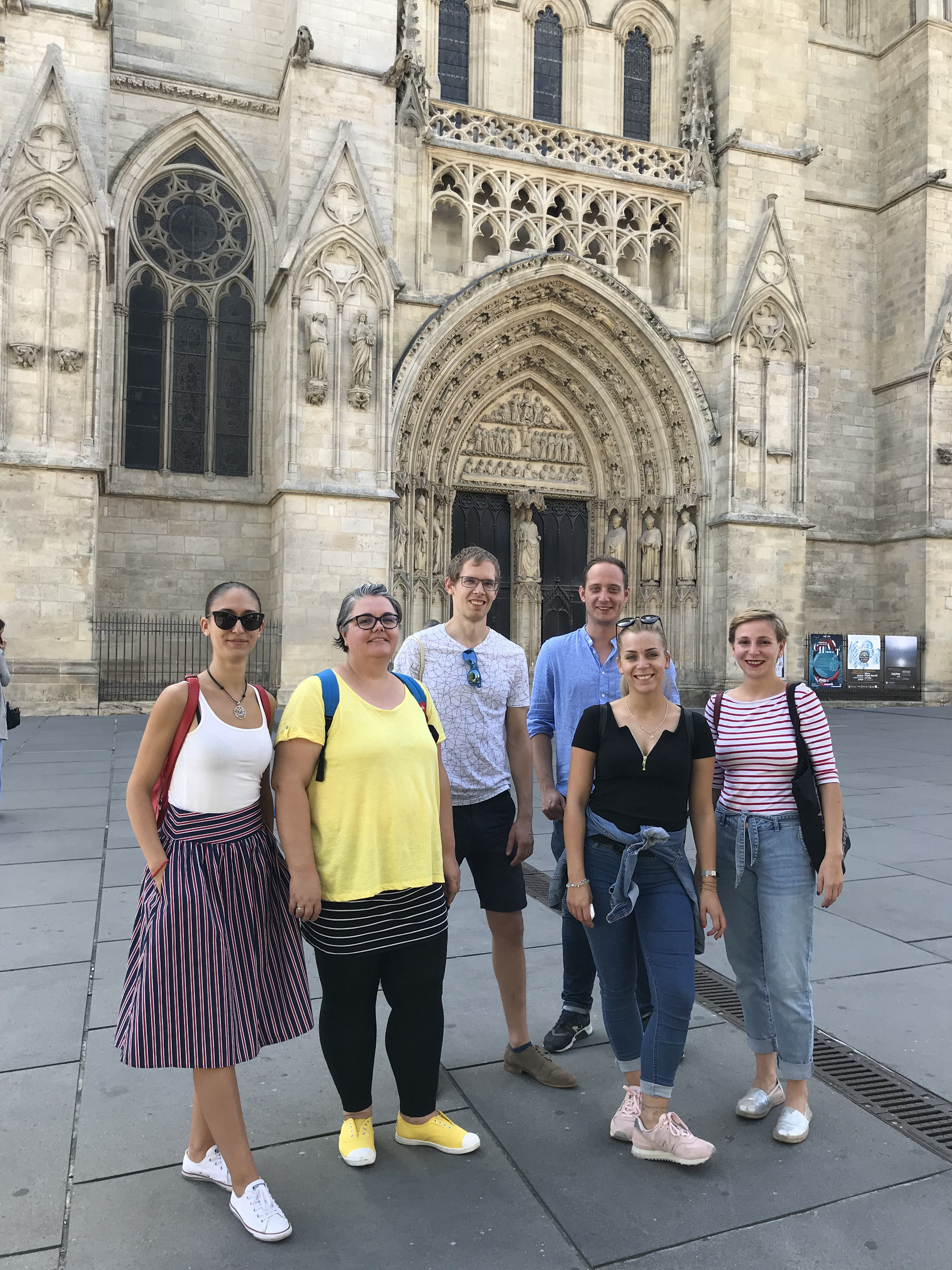 Participants in front of the Cathedral of Bordeaux